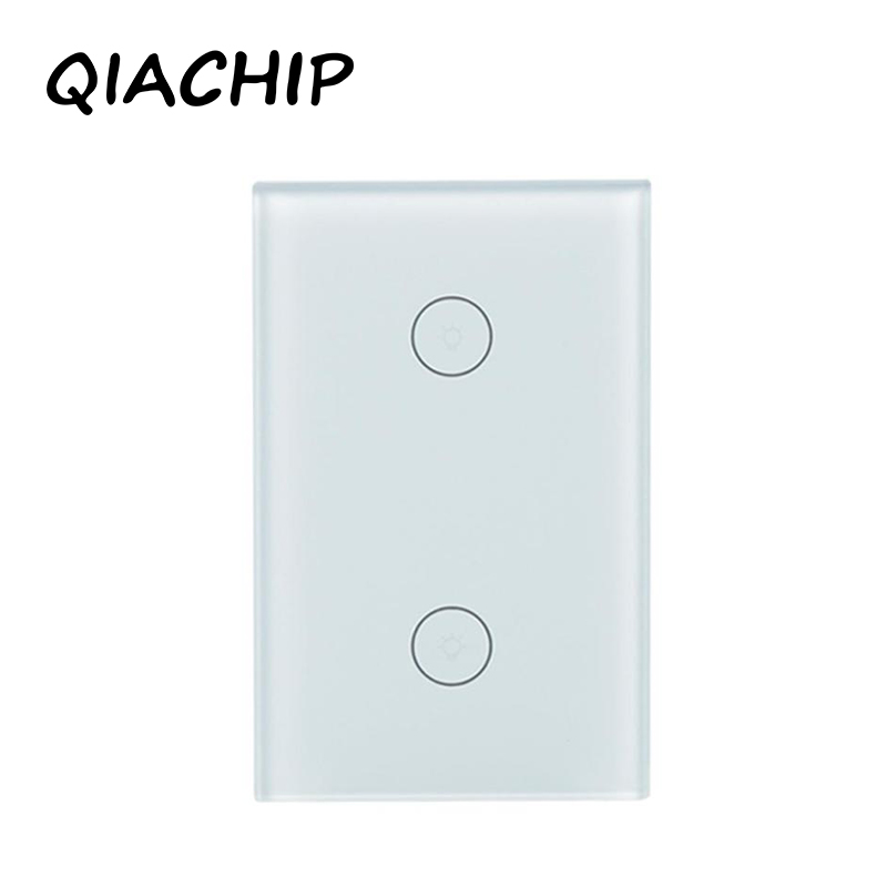 QIACHIP US standard Touch Switch White Crystal Glass Panel Touch Switch, AC220V 2 Gang 1 Way Light Wall Touch Screen Switch touch switch 2 way 1 gang black white crystal glass switch panel wall light touch screen switch 110 220v ac hot