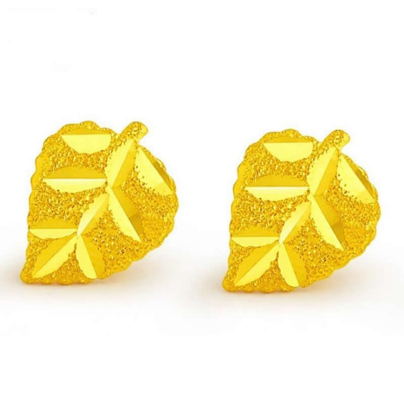 Pure 24k Yellow Gold leaf Earrings / new fashion cute gold ...