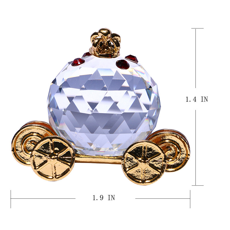 30PCS Glass Crystal Pumpkin Carriage Figurines Paperweight Crafts Art&Collection Table Car Ornaments Souvenir Home Wedding Decor