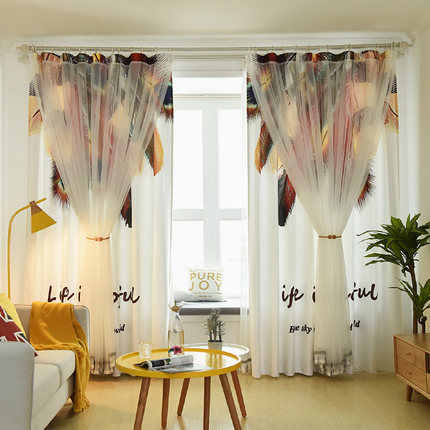 Personality Printing Feather Children's Room Curtain Boy Bedroom Baby Girl Bay Window Cloth Nordic Curtains for The Nursery