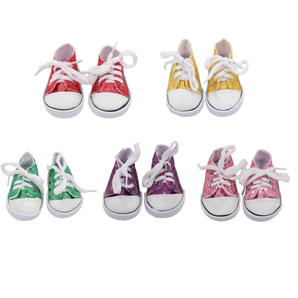Glitter Doll Shoes Canvas Shoes For 18 Inch Our Generation American Girl Doll Shoes for Dolls Accessories Kids Gift K4
