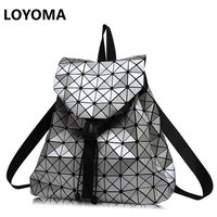 New Fashion Diamond Lattice BaoBao Bag Backpack Geometric Teenage Women Bag Daypack Geometric Joint Rucksack Girls