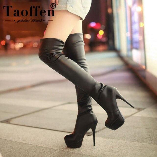 0deeaffc7b8 Taoffen Plus tamaño 34-46 Sexy muslo rodilla botas altas mujer Otoño  Invierno botas Zapatos