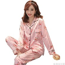 2019 new autumn woman satin pajamas striped cardigan lapel pyjamas set pink strawberry print ladies sleepwear home clothing