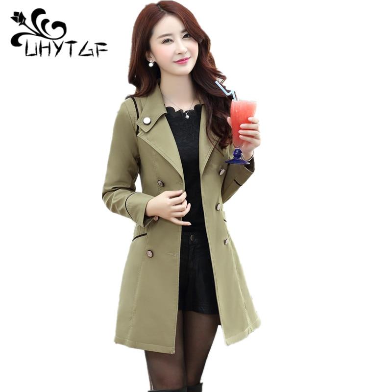 UHYTGF Plus size coats Ladies Double-breasted Fashion Cardigan   trench   coat Korean women's Elegant female Windbreaker coat X90