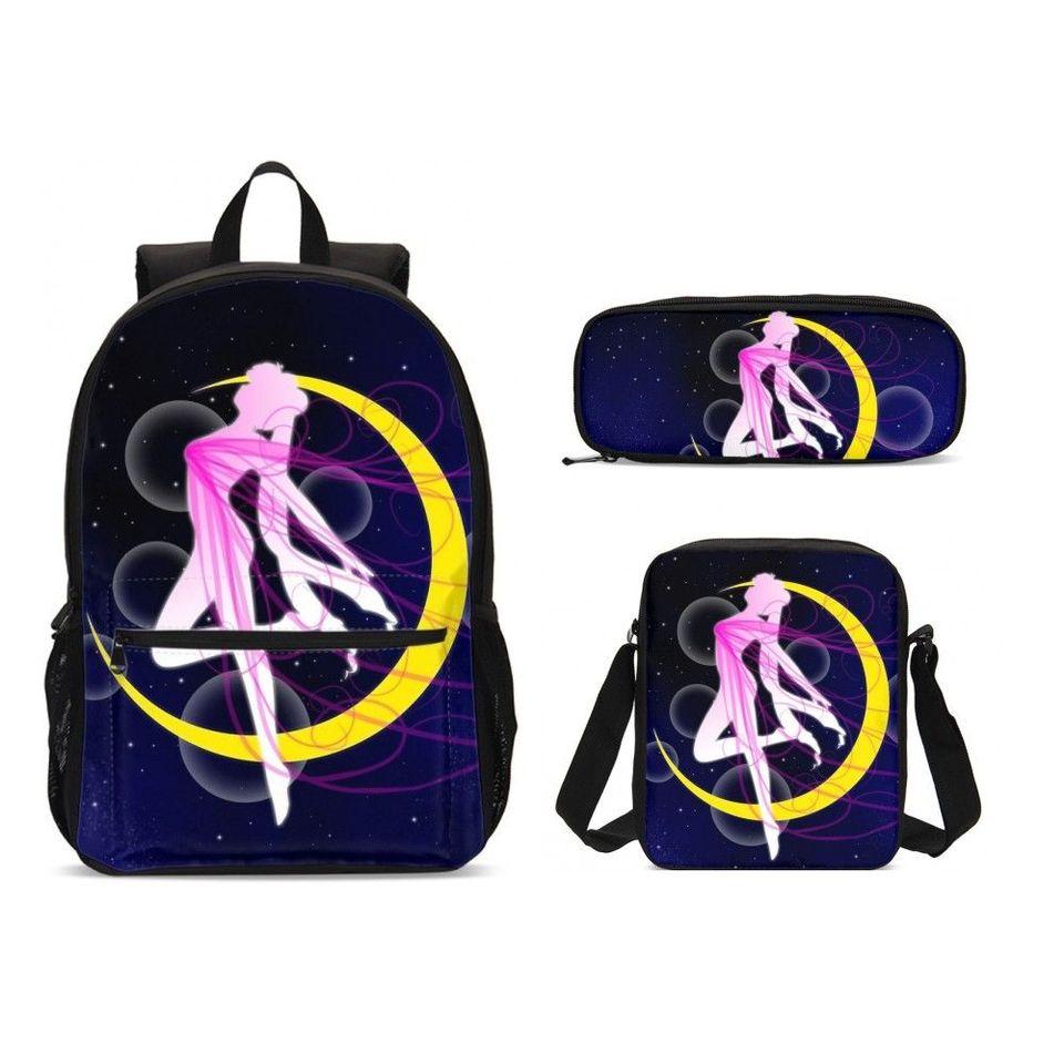 Anime Sailor Moon Backpack Rucksack Schoolbag Lunch Shoulder Bag Pen Case Lot