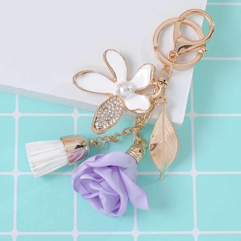 LẠI Vải Rose Flower Keychain Pha Lê Tua Xe Móc Chìa Khóa Phụ Nữ Túi Quyến Rũ cho các phím phụ kiện Voan Tua vòng chìa khóa a0740