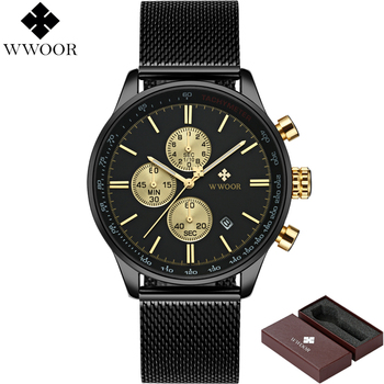 WWOOR Men's Luxury Chronograph Waterproof Stainless Steel Quartz Watches 1