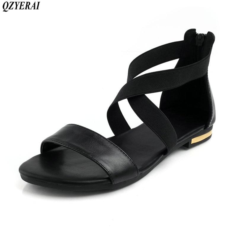 QZYZRAI peau de vache, Plus taille 34-46 nouvelles femmes sandales en cuir véritable + Pu plat d'été chaussures femme mode chaussures noir couleur