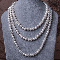 Классическая 9 10 мм Южная Морская Круглая Белая жемчужина necklace48inch14k