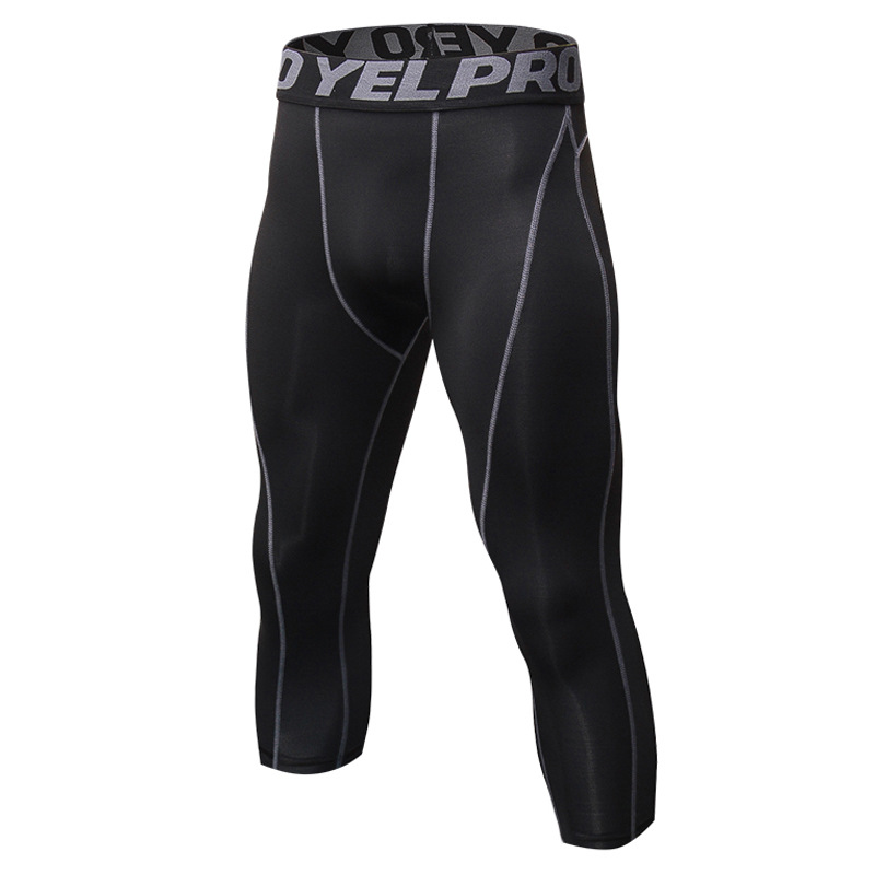 $9.82 Men's pants pants tight pants dry stretch 7 points pants Men Joggers Male Fitness Casual Fashion Brand Joggers Sweatpants Bottom