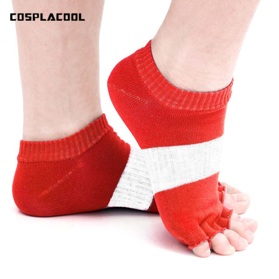 [COSPLACOOL] Spring Summer Women Cotton Patchwork Professional Fitness Pilate Yogaing Socks meias Exposed Fingers Socks