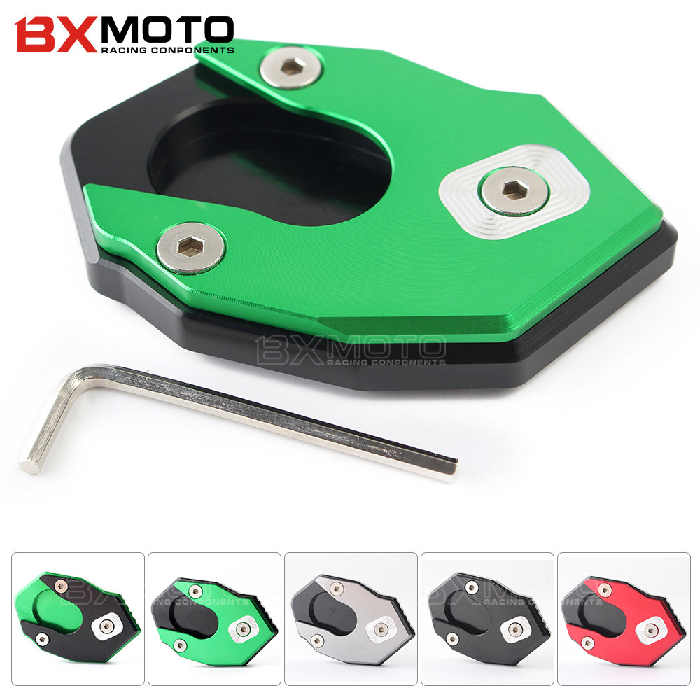For Kawasaki ER6N ER6F ER-6N ZX6R ZX10R Z900 Z650 Z1000 Z1000SX Motorcycle CNC Aluminum Side Stand Enlarge ninja 1000 ZX 6R 10R motorcycle cnc aluminum rear brake fluid reservoir cover cap for kawasaki z250 z650 z750 z800 z900 z1000 sx ex250 300 zx 6r 10r