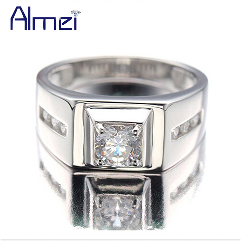 Almei Silver Color Rings for Men 2017 Fashion Punk Jewelry Cubic Zirconia Men's Engagement Wedding Ring Anel Masculino J473