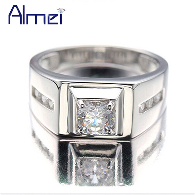 Almei Silver Color Rings For Men 2017 Fashion Punk Jewelry Cubic Zirconia S Engagement Wedding Ring