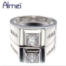 Мужское серебряное кольцо almei обручальное с фианитом в стиле