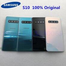 Samsung galaxy s10 capa traseira 100% original, tampa da bateria em vidro 3d, caixa traseira da caixa, s10 g973 s10 + porta traseira estojo da lente da câmera