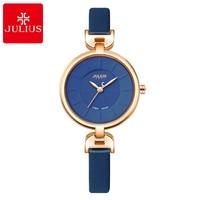 Women Simple Fashion Casual Leather Watch Girl Love Pretty Round Quartz Clock Time Original Genuine Brand Julius 864 Water Proof