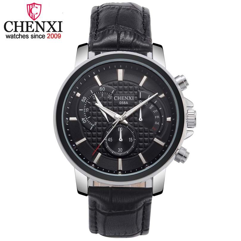 CHENXI Brand Fashion Luxury Leather Strap Quartz Watch Men Clock Gold&Silver Top Delicate Noble Gift Male Watches Relojes Hombre