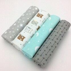 4 pçs/lote bebê recém-nascido folha de cama conjunto 76x76cm para recém-nascido berço lençóis linho 100% algodão flanela impressão cobertor do bebê