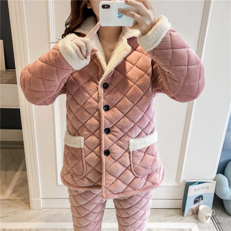 Women Thicken Cotton Home Wear Pajamas Suit Casual Long Sleeve Keep Warm Sleepwear Negligee 2PCS Clothing&Pant Pyjamas Set