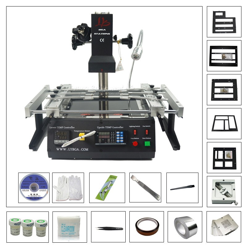Infrared SMD Bga Rework Station LY IR6500 solder machine with 80MM 90MM game console bga kit pack ly m770 infrared bga rework station 220v with bga reballing kit 184pcs 80 90mm bga stencils