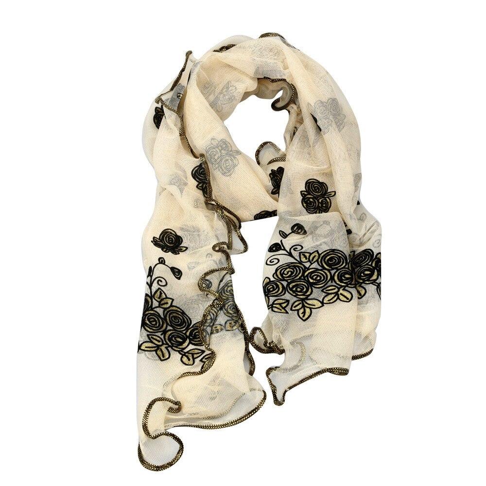 Kind-Hearted Scarf Women Fashion Winter Scarves Women Vintage Scarf Lace Gauze Rose Flower Scarves Shawl Wrap