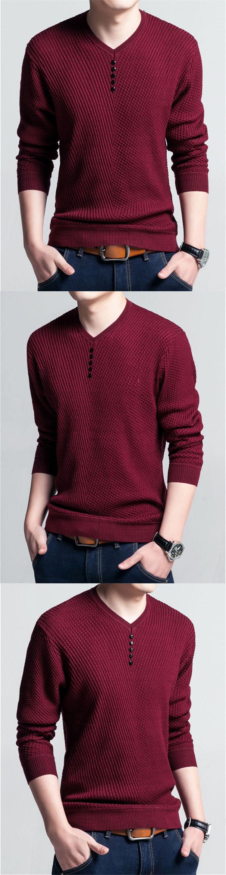 Men's V Neck Long Sleeve Shirt Sweater