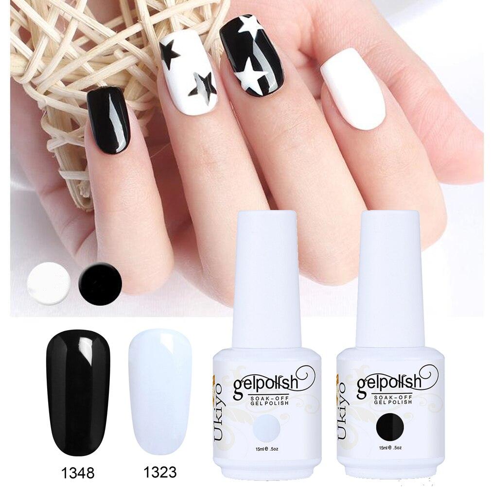 Ukiyo 15ML Gel Varnish Black White Red Color Nail Gel Polish Soak Off Nail Art Gel Polish Semi Permanent Nails Lacquer Varnishes 3
