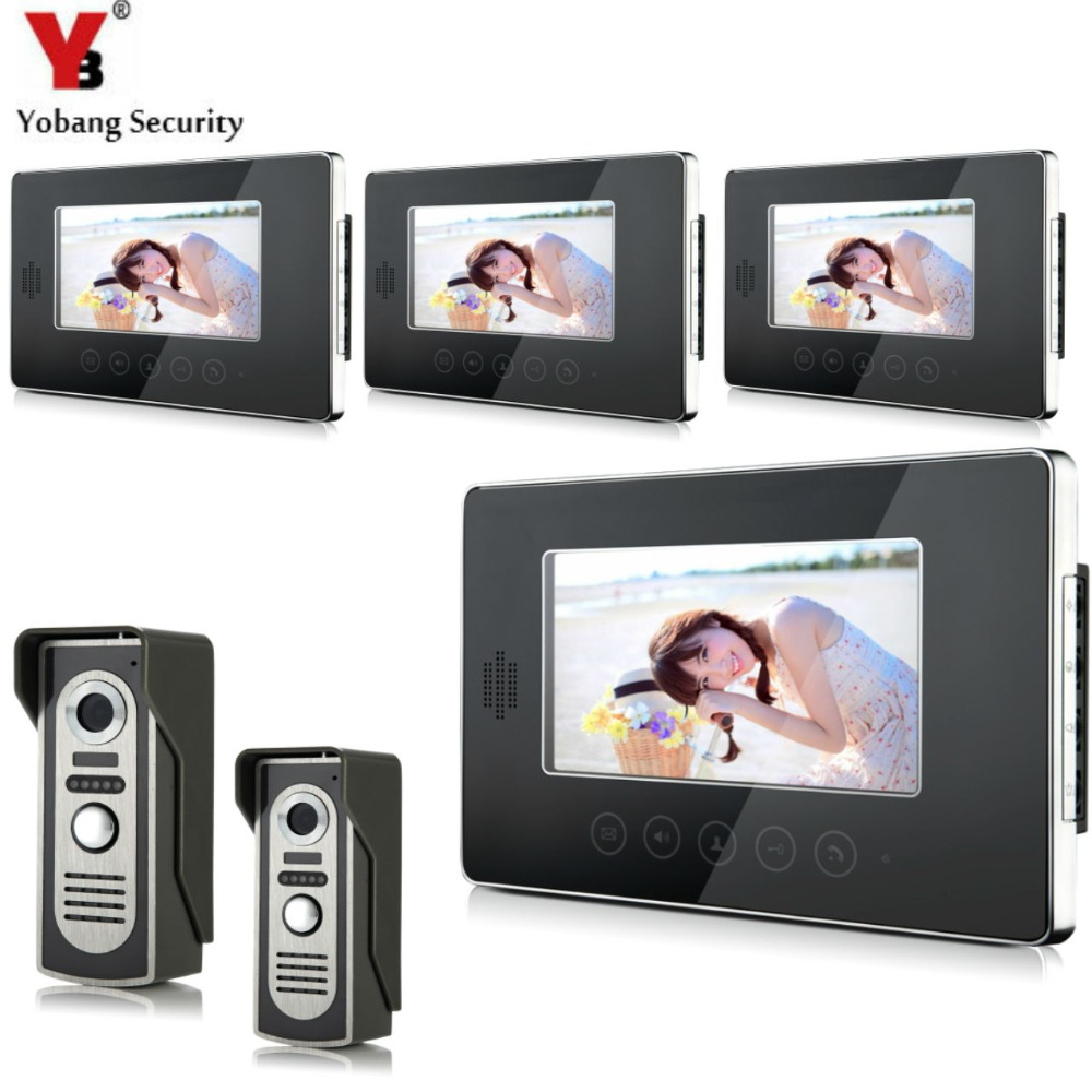 YobangSecurity Wired Video Door Phone Intercom 7Inch LCD Video Doorbell Camera System 2 Camera 4 Monitor For Apartment House yobangsecurity villa apartment eye door bell 7tft lcd color video door phone doorbell intercom system 1 camera 6 monitor