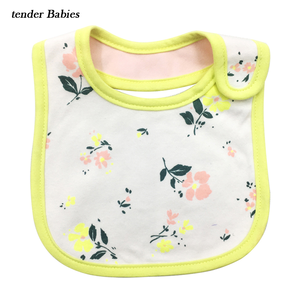 2018 100% Cotton Baby cotton bibs Kids Girl Boy Children Cartoon waterproof Dinner Feeding bib Infant Newborn Burp Cloths apron