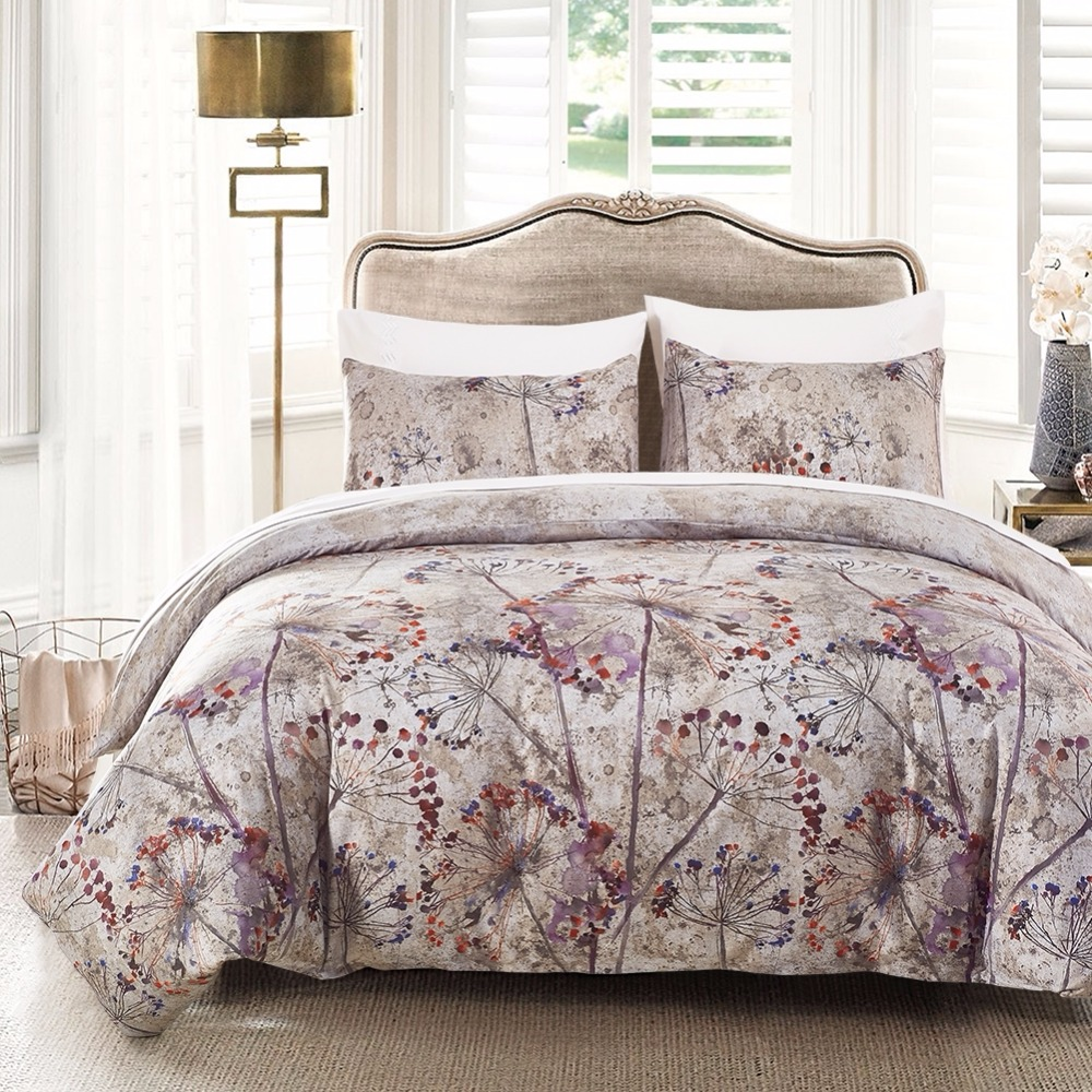 Bed Linen China Satin Bed Cover Queen Flowers Double Bedding Set King Queen Twin Bed Sheet Duvet Cover 3/4Pcs /Set Home textile