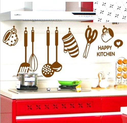 FD2462 Home Decor Craft Sticker Bedroom Toilet Wall DIY Sticker ~Happy Kitchen~