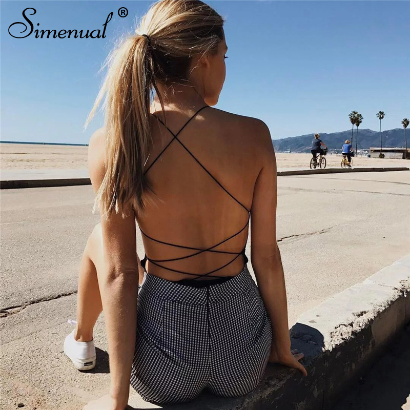 Simenual Sexy backless spaghetti strap bodysuit women one piece overalls summer solid basic   jumpsuits   hot skinny rompers 2019