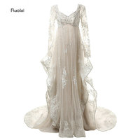 New Arrival Charming Gorgeous Real Sample Lace Applique Tulle Beading Long Sleeves Formal Evening Dresses For Party