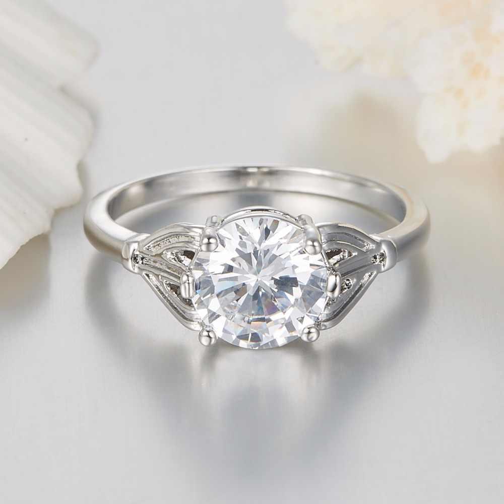 Moda mujeres grandes piedra boda Anillos tamaño 6 7 8 9 10 Joyería fina 2 carat AAAA + multi CZ piedra anillos para la joyería del Partido de las mujeres