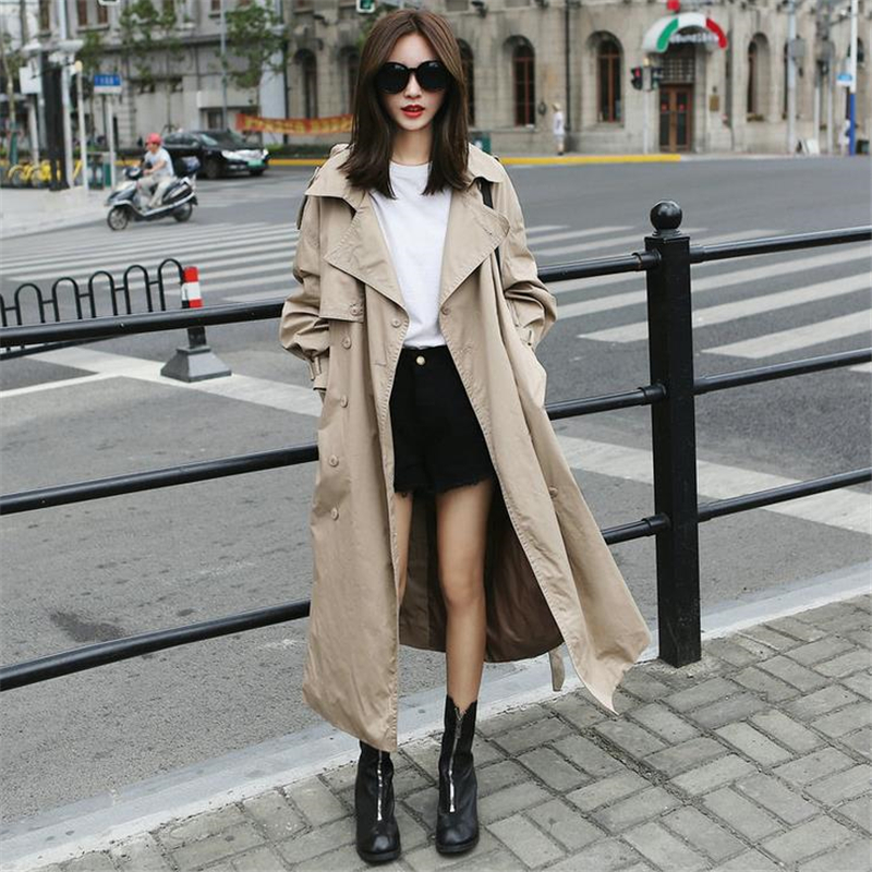DoreenBow High Quality Autumn Winter New Women Trench Long Sleeve Pockets Sashes Beige Buttons Fashion Coat Outwear, 1 Piece
