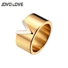 Moda V kształt stal nierdzewna stalowe pierścienie kobieta mężczyzna kochanek obrączka ślubna srebro złoto różowe złoto poszycia pierścienie dla kobiet tanie tanio JOVO LOVE STAINLESS STEEL Kobiety Metal TRENDY Zestawy dla nowożeńców List 10mm Ustawienie ramki Ślub Pierścionki Rings