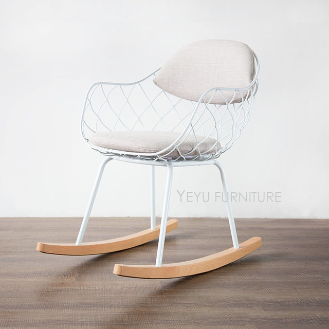 modern design metal steel wire rocking chair living room soft cushion pad solid wooden leg - Chaise Design Metal