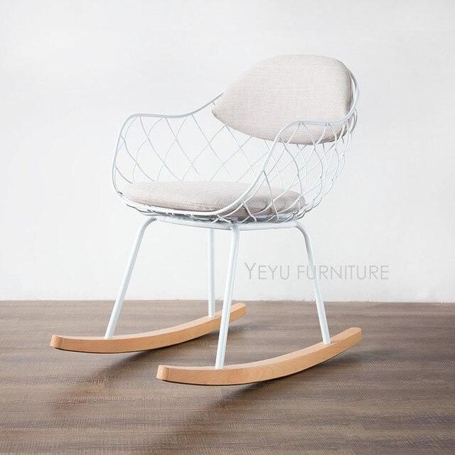Modernes Design Metall Stahl Draht Schaukelstuhl Wohnzimmer Weiches