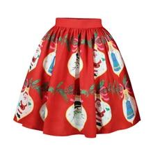 Для женщин Высокая талия Санта Клаус Рождественский принт юбки Винтаж Ретро Цветочный рокабилли повседневная юбка в складку подарок на год