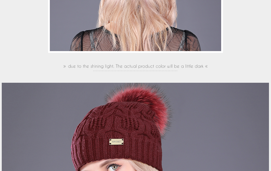 [boapt] Double-deck Knitted Wool Real Natural Raccoon Fur Pompon Hat Female Winter Braid Cap Headgear For Women Skullies Beanies HTB1YCYQb2NNTKJjSspeq6ySwpXah