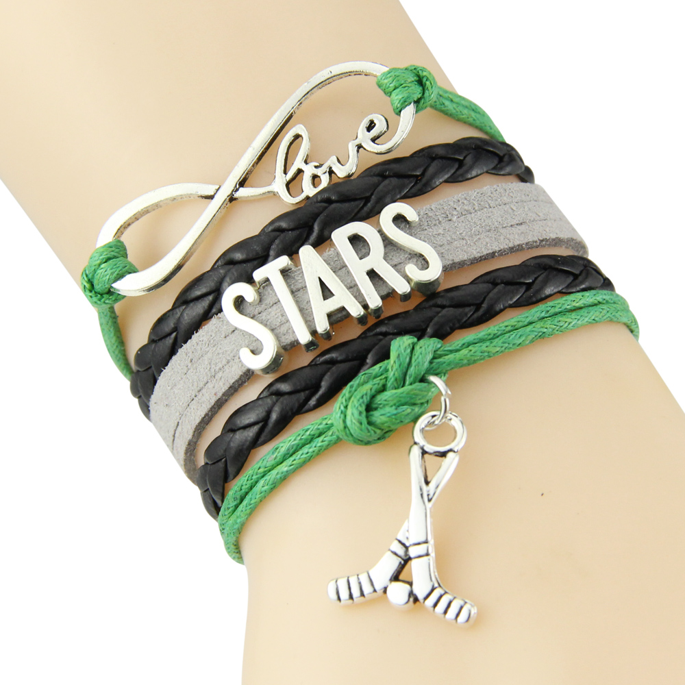 Chain Bracelet Infinite Love STARS Green Black Grey Cord Golf Dropshipping