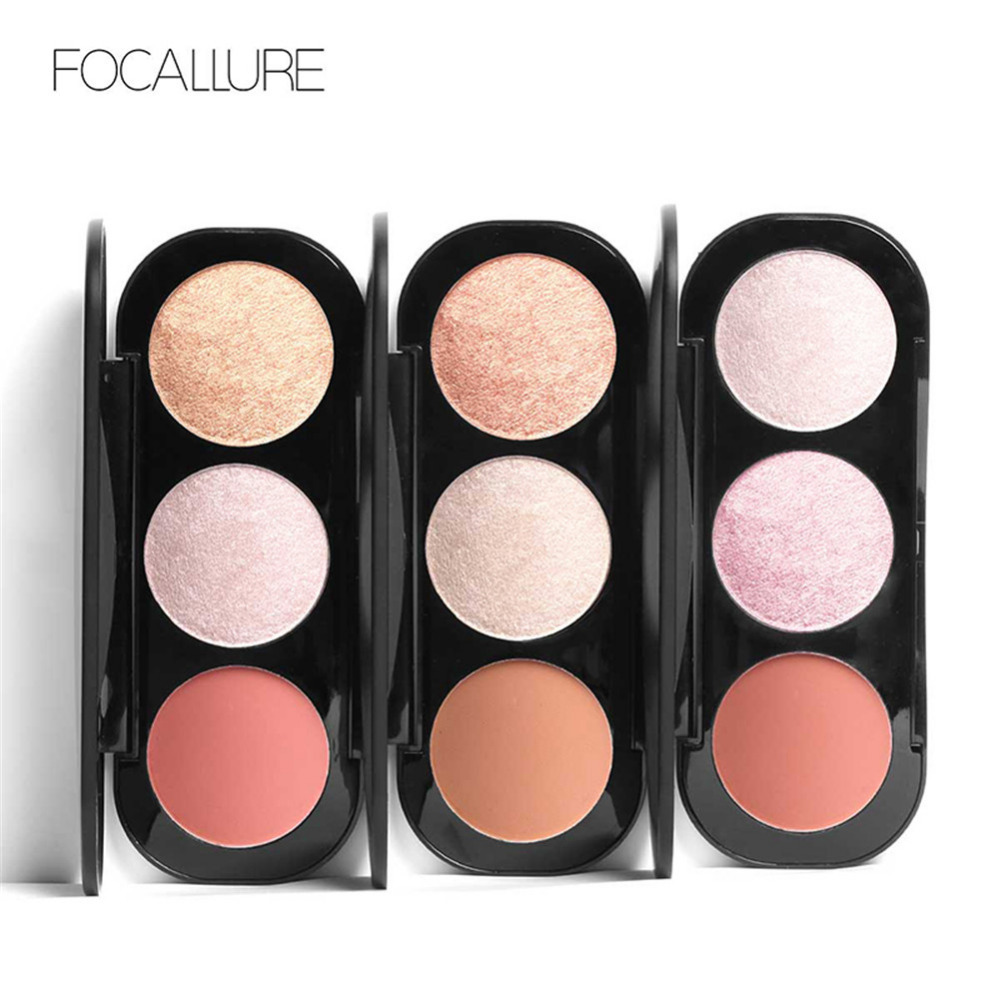 Focallure Brand 3 Colors Blush & Highlighter Palette Highly Pigmented Face Matte Highlighter Powder Illuminated Blush With Brush Beauty Essentials