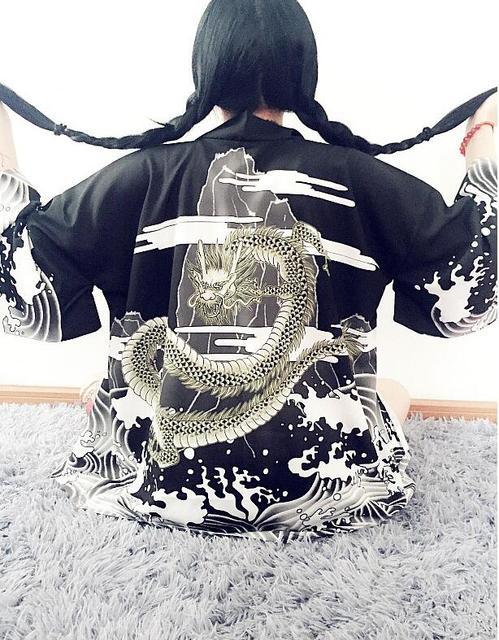 Estilo Japonês Harajuku ondas e do vento dragão quimono Japonês do vintage impressão chiffon cardigan sol de verão