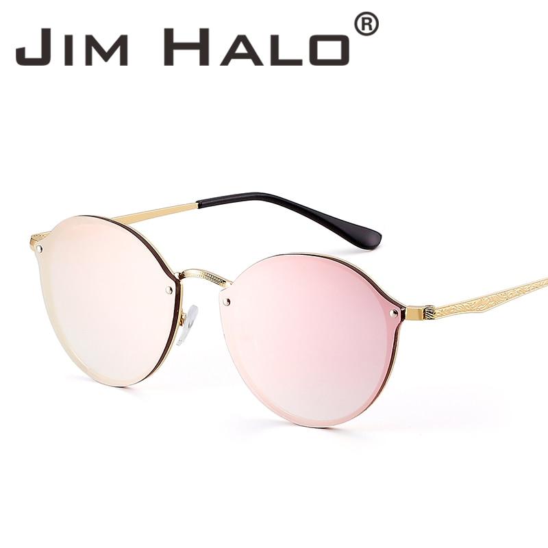 Jim Halo Rimless okrogla ogledala lahka sončna očala ženske moški - Oblačilni dodatki