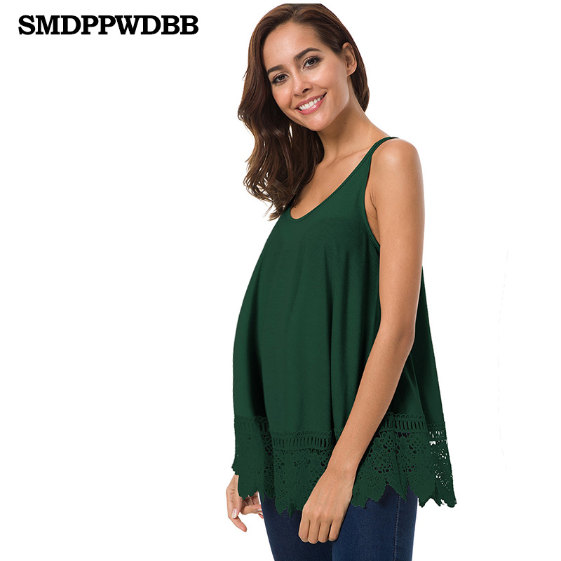 SMDPPWDBB Summer Maternity Vest T Shirt Elastic Pregnancy Tank Tops Clothes Pregnant Women Shirts Lace Tees Clothing Sleeveless