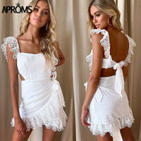 Aproms White Lace Embroidery Women Summer Dress 2019 Sexy Backless Lining Bodycon Short Mini Dresses Party Sundresses Vestidos