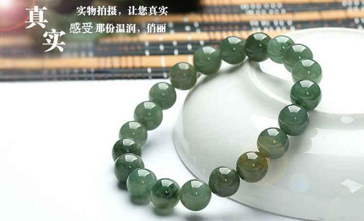 จัดส่งฟรี10มิลลิเมตรที่สมบูรณ์แบบจีน100%เกรดAธรรมชาติหยก/Jadeiteถั่วลูกปัดสร้อยข้อมือ