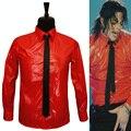 MJ En Memoria de Michael Jackson BAD Jam Peligroso de Charol Rojo Camisa Para El Regalo Del Partido de Halloween